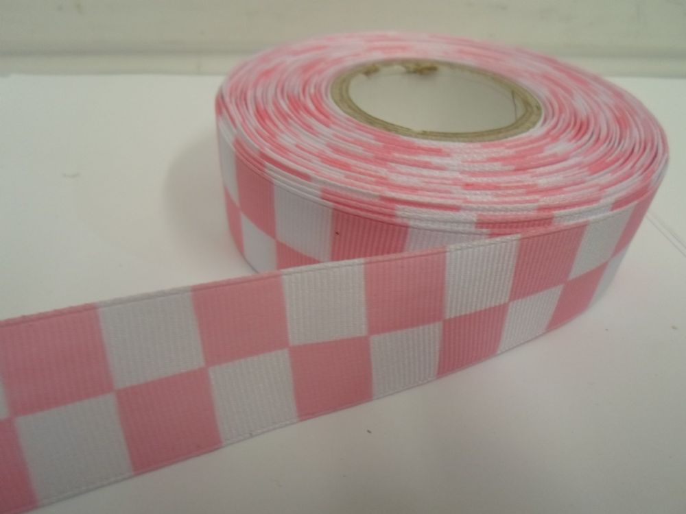 Baby light pink white 2 metres or 20 metre roll x 25mm grosgrain baby light pink white 2 metres or 20 metre roll x 25mm grosgrain ribbon square chequered block race track finish line aloadofball Choice Image
